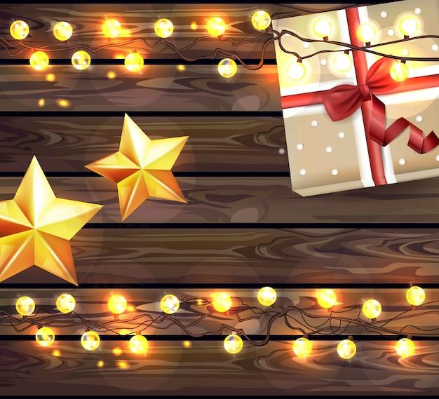 Bożonarodzeniowe światła na drewnianej tekstury realistycznej ilustraci. wakacje drewniane tła
