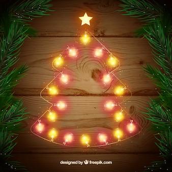Bożonarodzeniowe światła w kształcie choinki