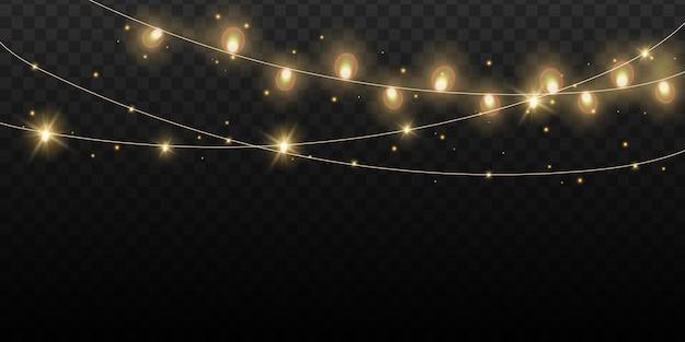 Bożonarodzeniowe światła żarówki odizolowywać. świecące złote girlandy wiszące lampy girlanda sznurkowa, element projektu magiczne lampki nocne.