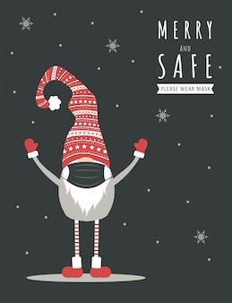 Bożonarodzeniowy krasnal w masce chroniącej twarz przed koronawirusem. kartkę z życzeniami noworocznymi z cytatem wesołych i bezpiecznych.