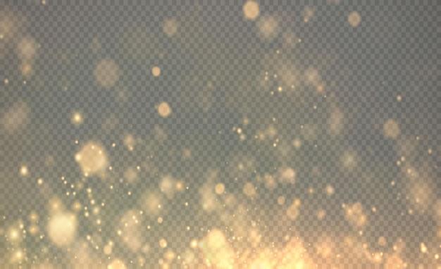 Bożonarodzeniowy złoty musujący pył złote musujące gwiazdki na przezroczystym tle błyszcząca tekstura