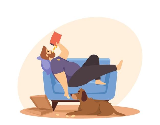 Brak aktywności fizycznej, pasywny styl życia, zły nawyk. koncepcja życia siedzącego. mężczyzna z nadwagą leżący na sofie i jedzący chipsy