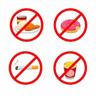 Brak fast foodów i palenia dla diety i zestawu symboli aktywności na czczo.