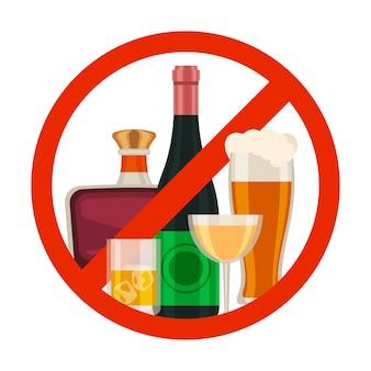 Brak ikony alkoholu. znak zakazu napojów alkoholowych z kreskówkową szklanką piwa, butelką wina i whisky w kolorze czerwonym. zakaz napojów wektor symbol. ilustracja bez napoju alkoholowego, zabronionego i zabronionego napoju