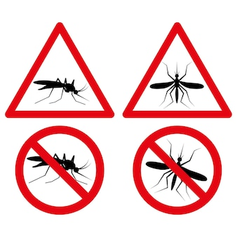 Brak ikony komara z czerwonym trójkątem i symbolem ostrzegawczym koła. ilustracja ostrzegawcza malarii jako prosty znak wektora.