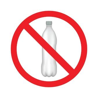 Brak ikony linii plastikowej butelki wody. logo na białym tle