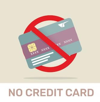 Brak karty kredytowej zabroniony znak.