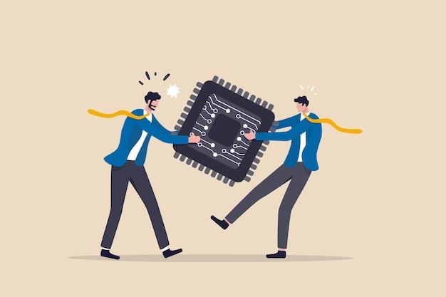 Brak łańcucha dostaw półprzewodników i chipów komputerowych z powodu pandemii koronawirusa covid-19, koncepcja problemu z produkcją elektroniki, biznesmen przeciągania liny o chip komputerowy.