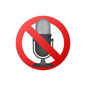 Brak oznak nagrywania. brak oznak mikrofonu na białym tle. ilustracja wektorowa.
