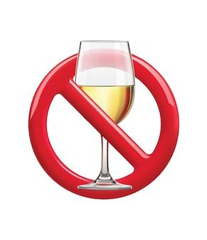 Brak oznak picia zakazu znak na ilustracji alkoholu