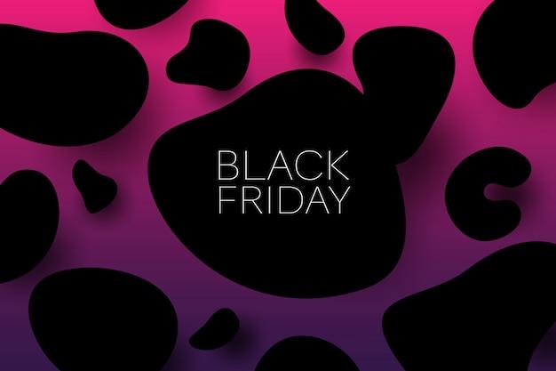 Brak piątek sprzedaż 3d wektor ilustracja transparent z organicznych postaci czarne przedmioty. koncepcja promocji sprzedaży.