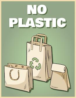 Brak plakatu z plastikowych toreb papierowych. fraza motywacyjna.