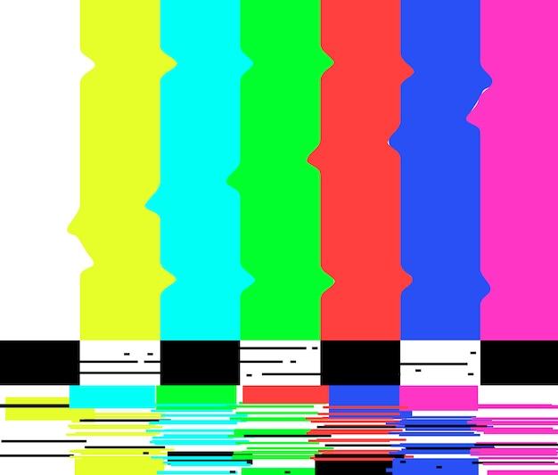 Brak sygnału plakat telewizja retro ekran testowy usterki kolorowe paski.