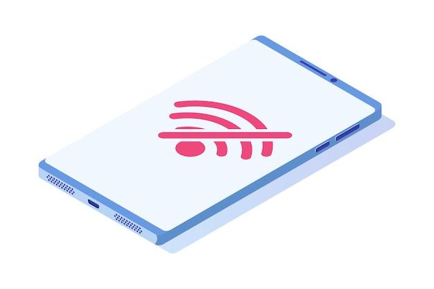 Brak wifi na ikonie izometrycznej smartfona. znak złego połączenia internetowego.