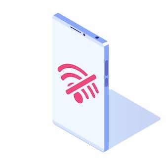 Brak wifi na ikonie izometrycznej wektora smartfona. znak złego połączenia internetowego.