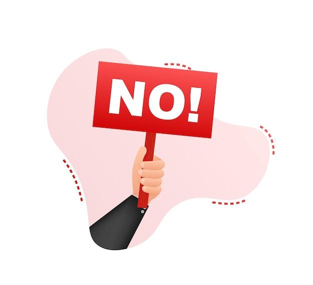 Brak znaku kreskówka plakat z ręką trzymającą afisz do projektowania banerów