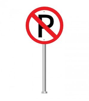 Brak znaku parkowania. znak zakazu.