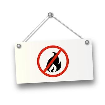 Brak znaku płomienia ognia ikona symbol ognia zatrzymaj ucieczkę pożarową przed czerwonym znakiem zakazu ognia