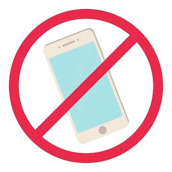 Brak znaku telefonu czerwony smartfon zakazany symbol zasady zakaz telefonu!