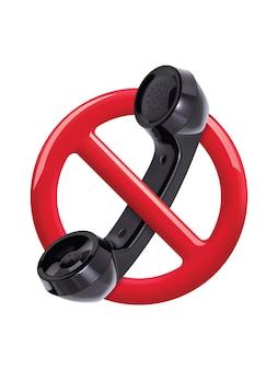 Brak znaku telefonu czerwony znak na białym tle. ilustracja