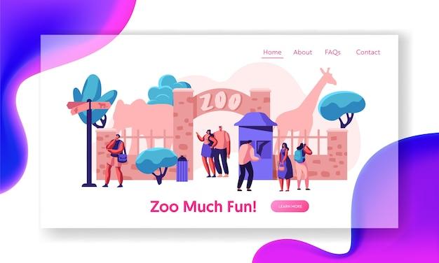 Brama wejściowa do zoo z lądowiskiem dla słonia żyrafy. wiele osób przyjeżdża do egzotycznego afrykańskiego parku zwierząt. rodzinny letni weekend na świeżym powietrzu. kobieta odwiedzająca witrynę lub stronę internetową. ilustracja wektorowa płaski kreskówka