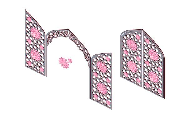 Brama z tradycyjnym islamskim ornamentem w widoku izometrycznym. ozdobny łuk drewniany. ilustracja wektorowa