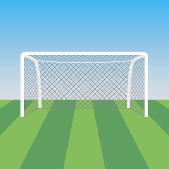 Bramka piłkarska i trawa na stadionie piłkarskim. sportowe tło na plakat. ilustracja wektorowa.