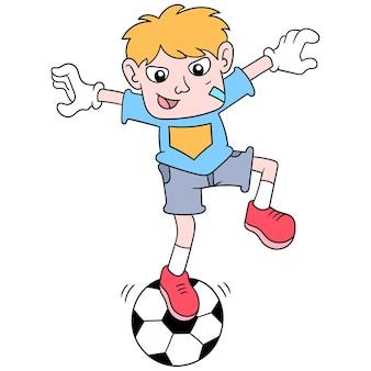 Bramkarz chłopiec ćwiczyć równowagę stojąc na piłce nożnej, ilustracji wektorowych sztuki. doodle ikona obrazu kawaii.
