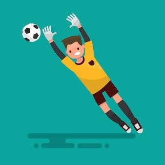 Bramkarz łapie piłkę. ilustracja piłki nożnej