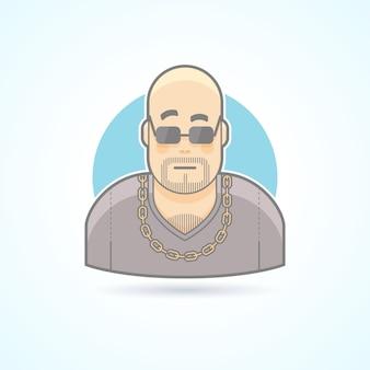 Bramkarz w klubie nocnym, szef ochrony, ikona ochroniarza. avatar i ilustracja osoby. kolorowy styl konturowy.