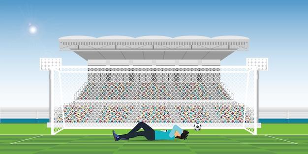 Bramkarz zakrywa własną twarz podczas meczu, nie trafiając w bramę