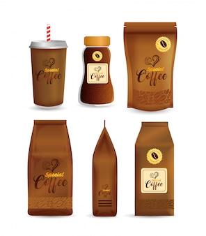 Brandingowy zestaw makiet do kawiarni, restauracji, makiety identyfikacji wizualnej, opakowań na kawę