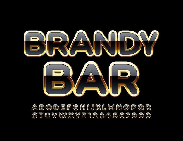 Brandy bar luksusowe litery alfabetu i cyfry czarno-złota stylowa czcionka
