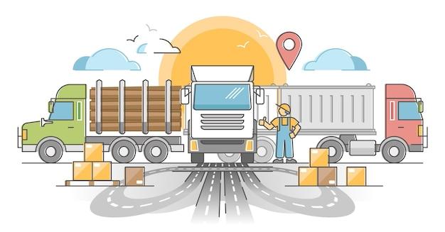 Branża transportu samochodowego jako dostawa ładunku według koncepcji zarysu drogowego