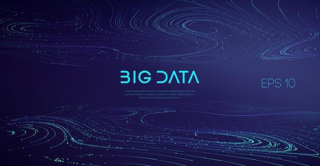 Branżowa, kompleksowa wizualizacja dźwiękowa big data. streszczenie tło przepływu dużych danych.