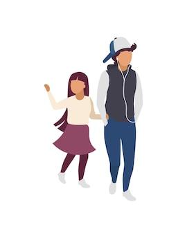 Brat i siostra trzymają się za ręce płaskie kolorowe postacie bez twarzy