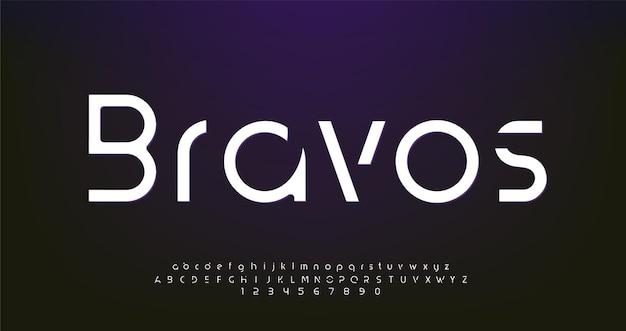 """""""bravos"""" abstrakcyjne cyfrowe futurystyczne nowoczesne czcionki alfabetu"""