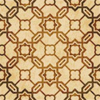 Brązowa akwarela tekstury, wzór, islamska wielokąt łańcuch krzyż gwiazda