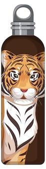Brązowa butelka termosu z tygrysim wzorem