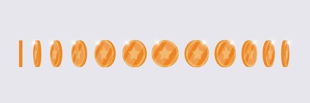 Brązowa moneta 3d obraca się wokół innej pozycji ustawionej na animację gry lub aplikacji. bingo jackpot w kasynie poker wygraj rotację metalowych elementów. ilustracja wektorowa płaski skarb gotówki