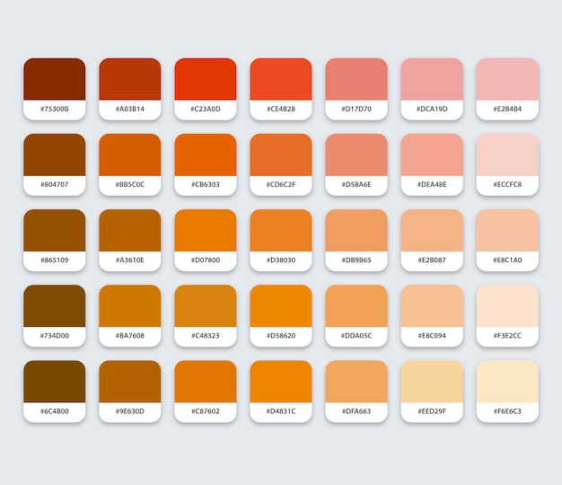 Brązowa paleta kolorów z hex
