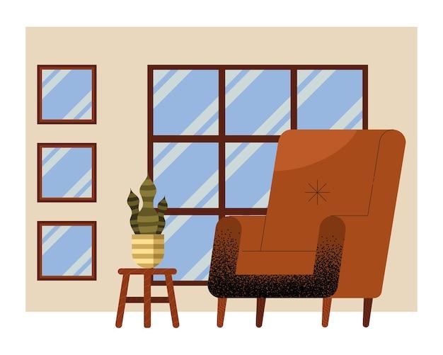 Brązowa sofa w scenie w salonie