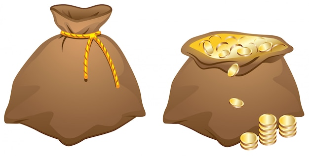 Brązowa torba pełna złotych monet