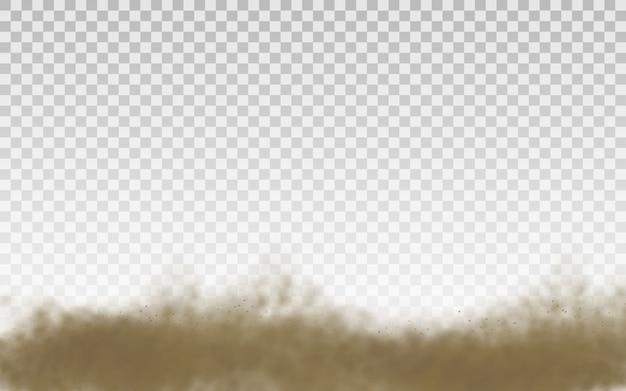 Brązowa zakurzona chmura lub suchy piasek lecący z podmuchem wiatru