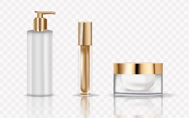 Brązowe butelki kosmetyczne na przezroczystym tle