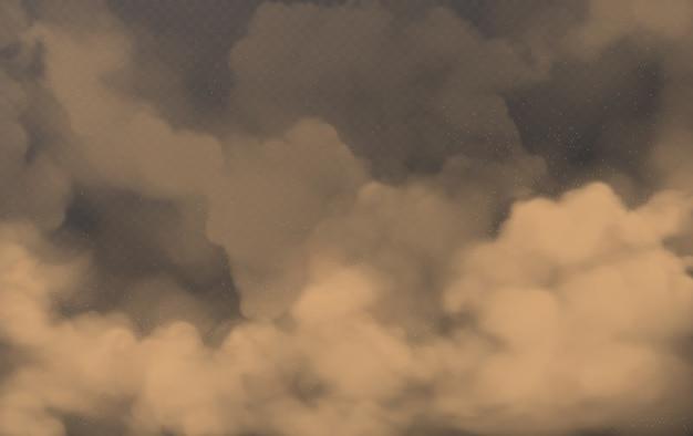 Brązowe chmury pyłu latającego piasku i ziemi
