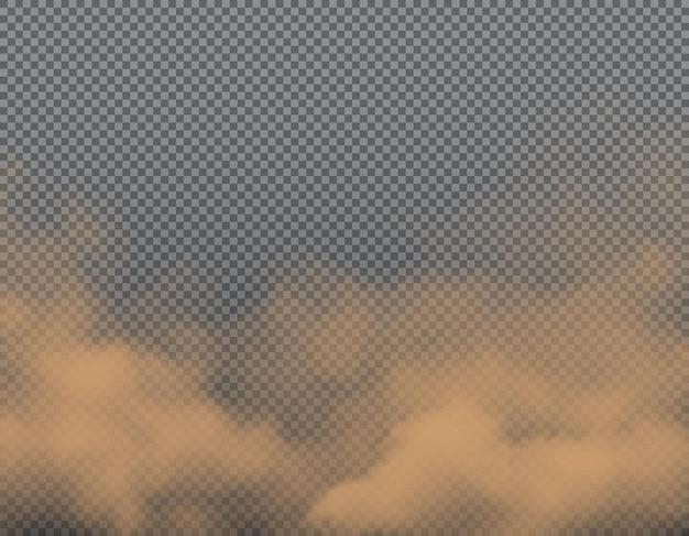Brązowe chmury pyłu, piasku lub brudu na przezroczystym tle