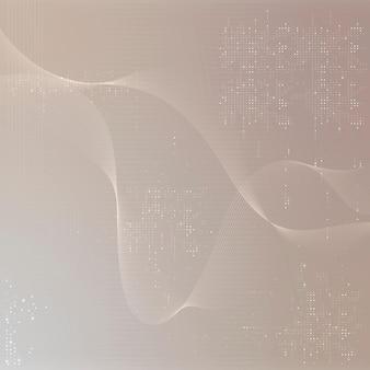 Brązowe futurystyczne fale tło z technologią kodu komputerowego