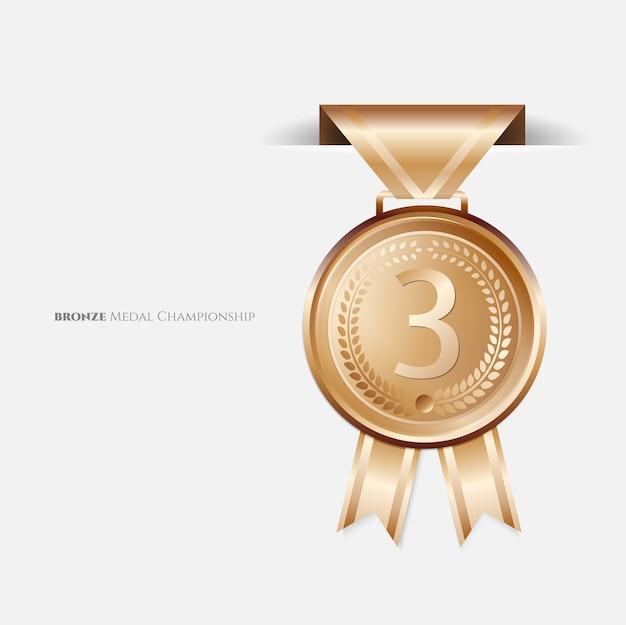 Brązowe medale z wstążką.