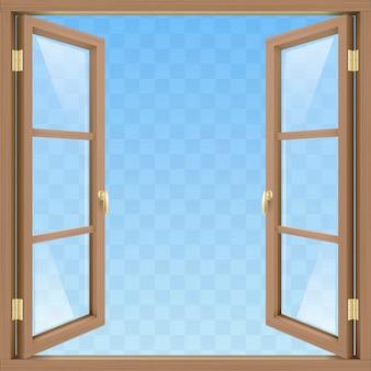 Brązowe otwarte okno